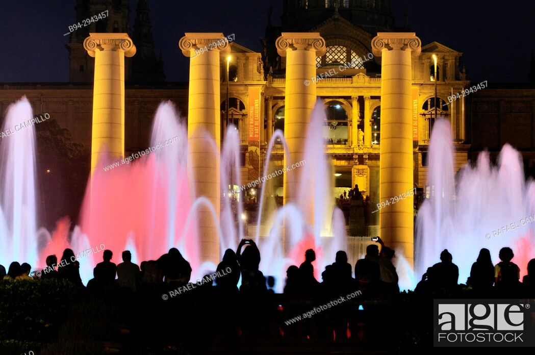 Stock Photo: Magic Fountain of Montjuïc, Font Mágica de Montjuic, constructed for the 1929 Barcelona International Exposition, designed by Carles Buigas.