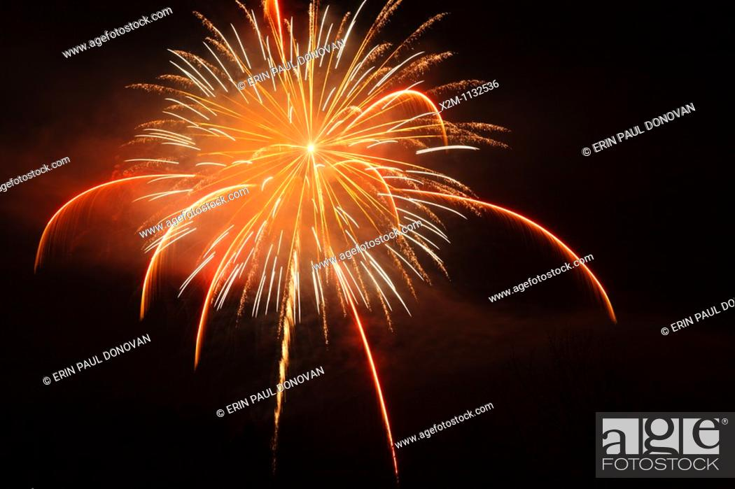 Stock Photo: Fireworks over Lincoln, New Hampshire USA.