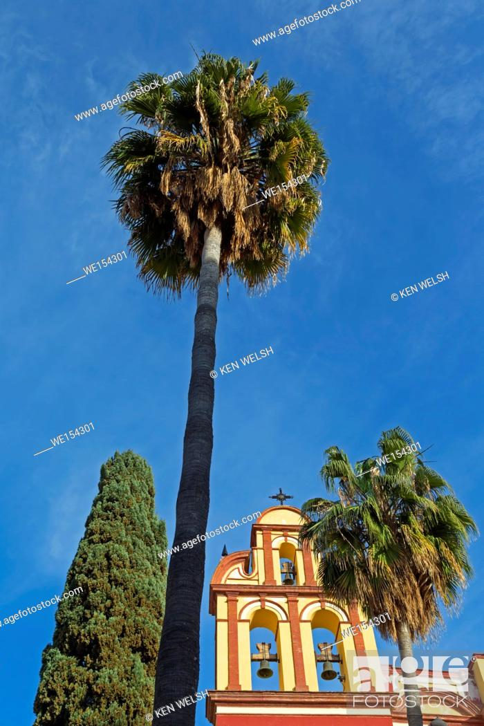 Stock Photo: Malaga, Costa del Sol, Malaga Province, Andalusia, southern Spain. Bell tower of San Agustin church dating from 16th to 18th centuries.