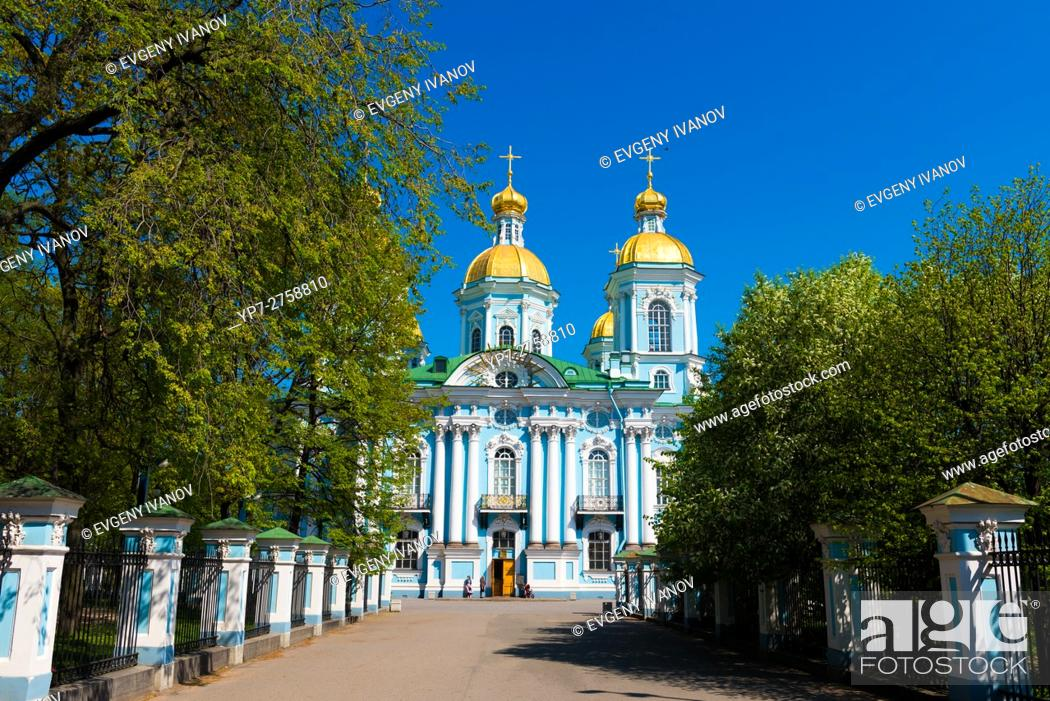 Stock Photo: St. Nicholas Naval Cathedral in St. Petersburg, Russia.