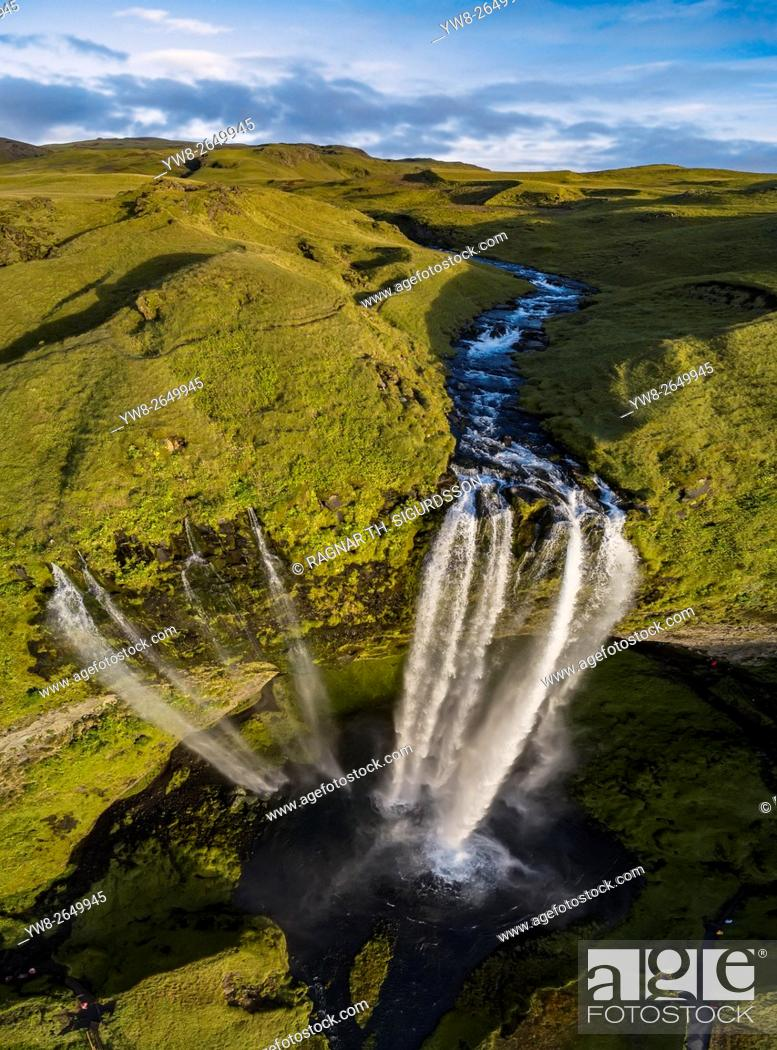 Stock Photo: Seljalandsfoss Waterfall in the fall, Iceland. This image is shot using a drone.