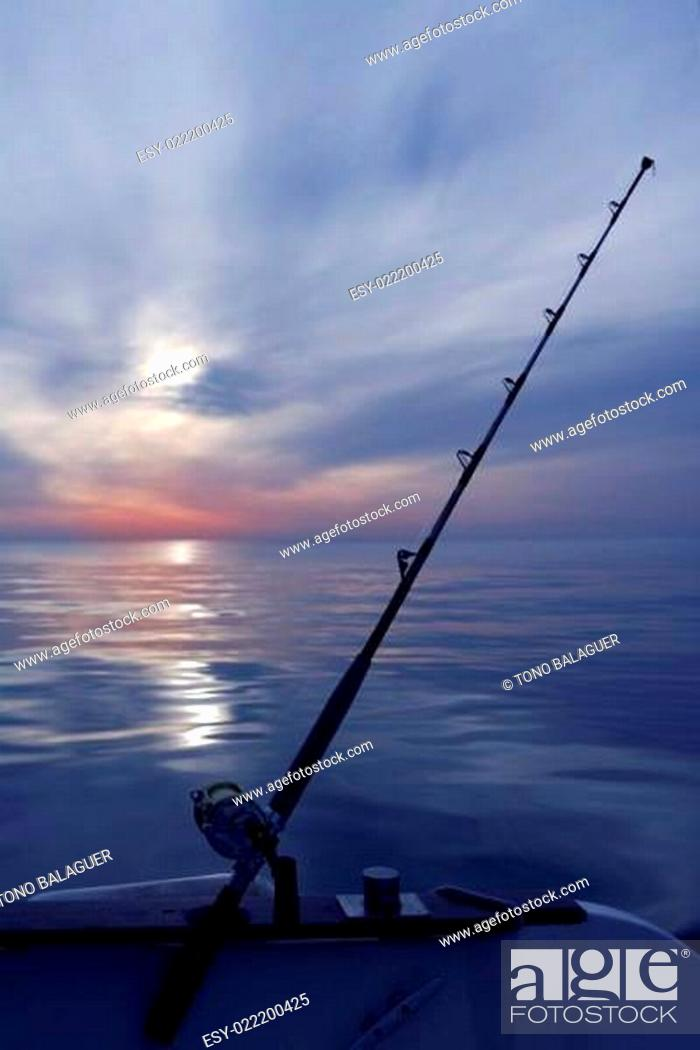 Stock Photo: boat fishing sunrise on mediterranean sea ocean.