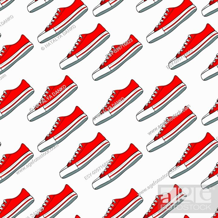 Stock Vector: seamless pattern with red textile sneakers and white laces on a white background.