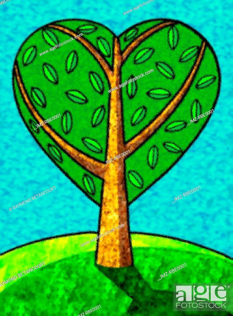 Stock Photo: An illustration of a heart shaped tree.