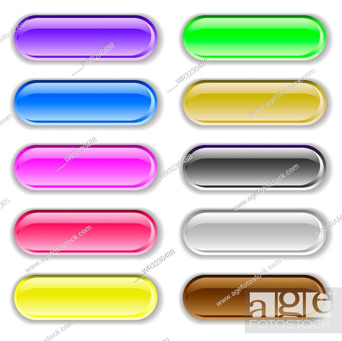 Stock Vector: Ten gel filled lozenge brightly colored icons with shadows.