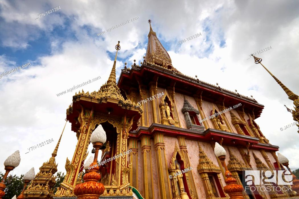 Stock Photo: Wat Chalong - Buddhist temple in Phuket, Thailand  Wat Chalong is the largest and the most visited of Phuket's temples.