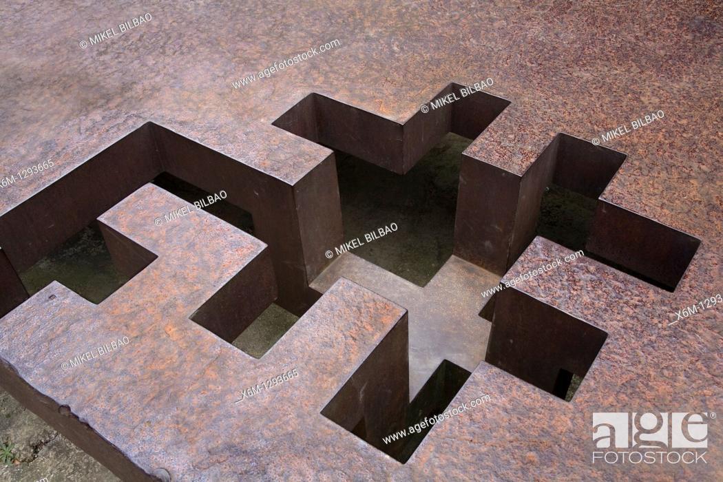 Stock Photo: 'Homenaje a Lucca Paccioli' work  Chillida Leku Museum  Hernani, Guipuzkoa, Basque Country, Spain.