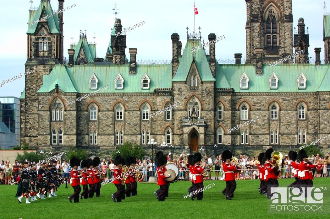 Stock Photo: Marching Band during Changing of the guard at Parliament Hill.