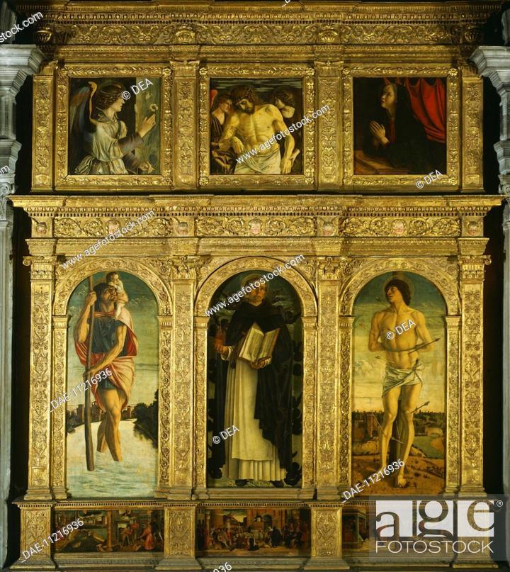 Stock Photo: St Vincent Ferrari Triptych, by Giovanni Bellini, known as Giambellino (ca 1430-1516). Church of Santi Giovanni e Paolo, Venice.