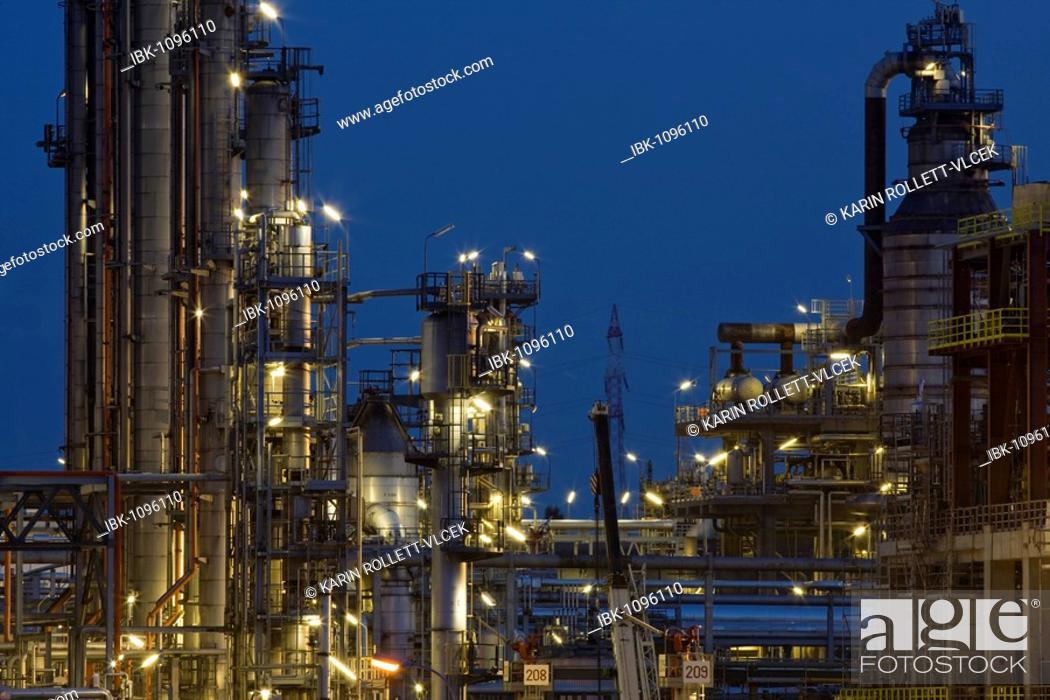 Stock Photo: Schwechat Refinery near Vienna at dusk, Lower Austria, Austria, Europe.