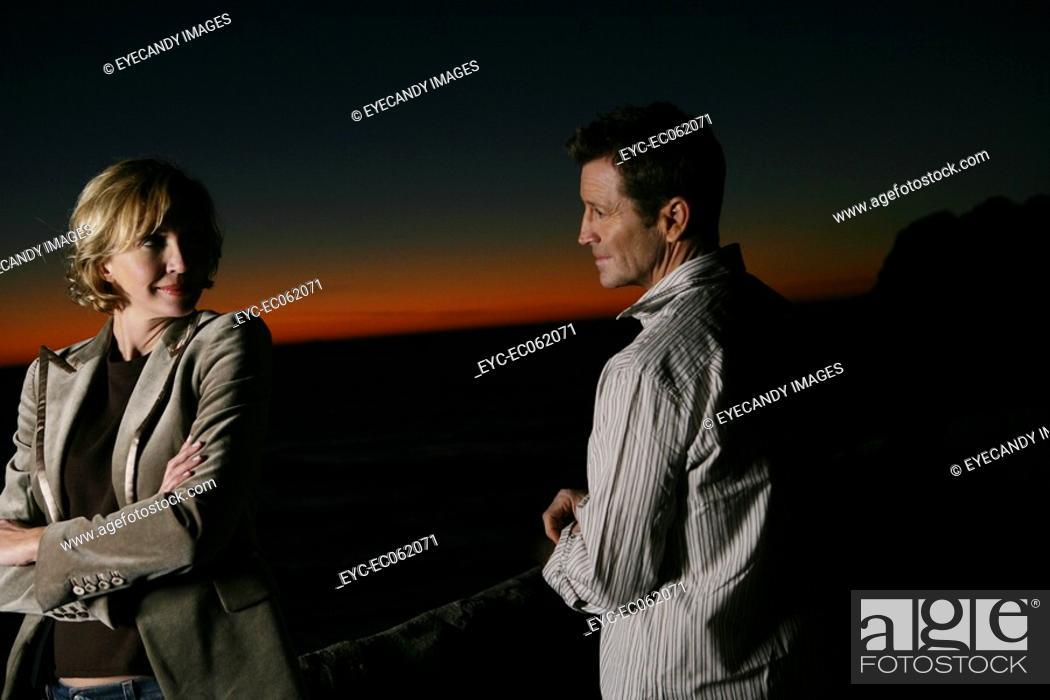 Stock Photo: Mature couple seaside.