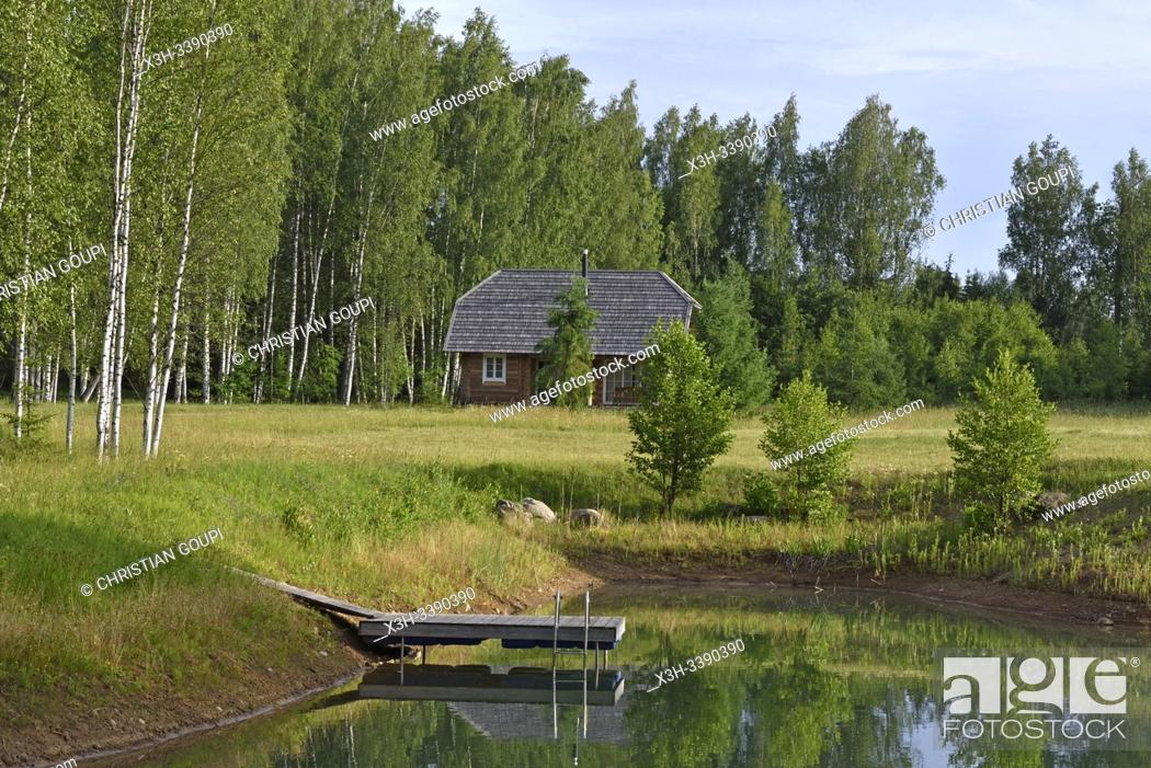 Photo de stock: small lake and log house on the homestead, Miskiniskes rural accommodations, Aukstaitija National Park, Lithuania, Europe.