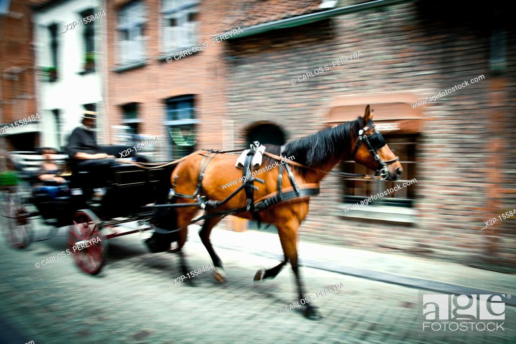 Stock Photo: Tours in horse carriages in the center of Bruges, Flanders, Belgium.