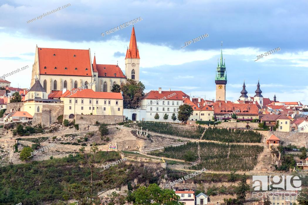 Stock Photo: Znojmo, Czech Republic, St. Nicholas Church and old historic town, Landscape.