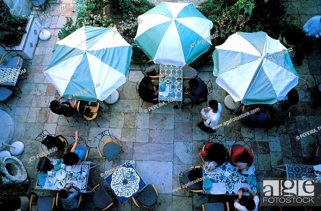 Stock Photo: Israel, Jerusalem, cafe terrace.