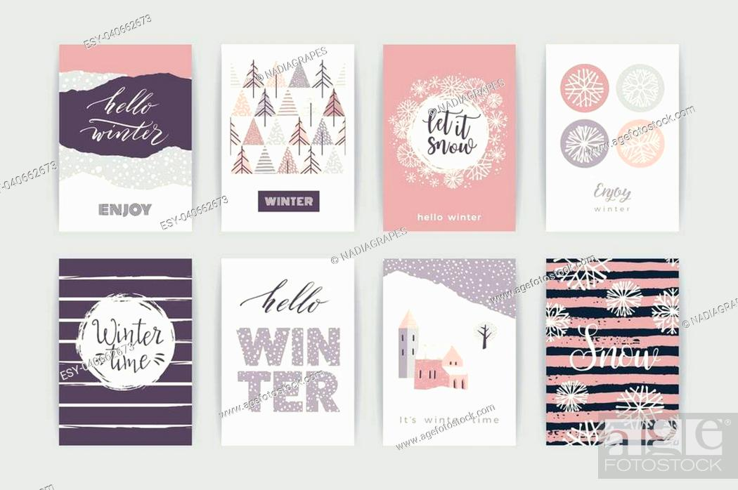 Stock Vector: Set of artistic creative winter cards. Hand Drawn textures. Design for poster, card, invitation, placard, brochure, flyer. Vector templates.