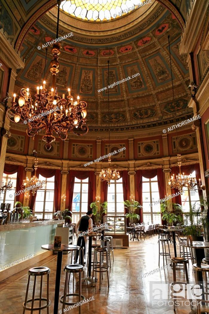 Stock Photo: Belgium - Flanders - Antwerp - Bourla Theater Foyer restaurant.