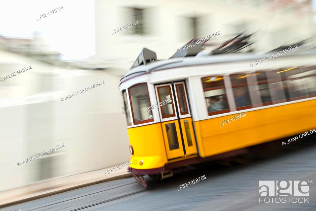 Stock Photo: Tram in Rua de Sao Francisco, Chiado district, Lisbon, Portugal.
