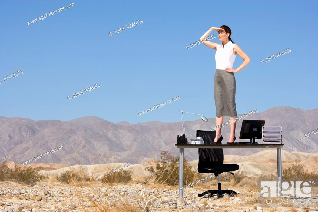Stock Photo: Businesswoman standing on desk in desert, hand on hip, looking into distance.
