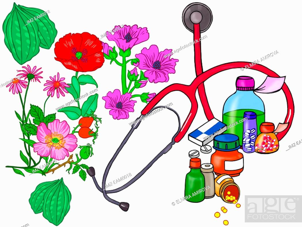 Stock Photo: A juxtaposition of natural flowers an medical pills and potions.
