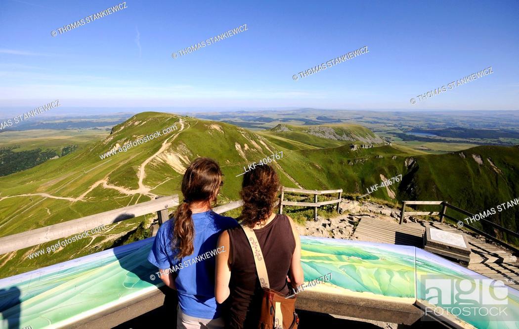 Stock Photo: People on the Puy de Sancy volcano, Monts Dore, Volcano Auvergne, France, Europe.