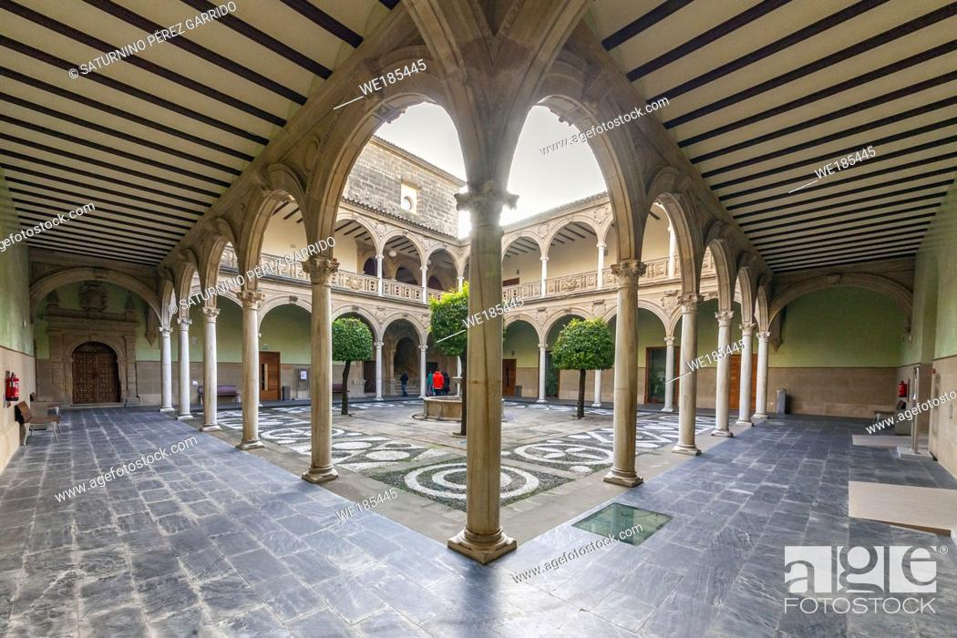 Stock Photo: Cloister of the Palace of Jabalquinto, baeza. Jaen.