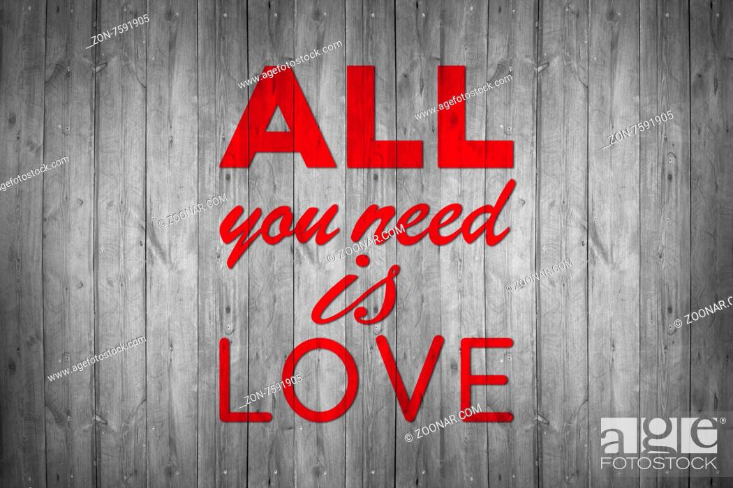 Imagen: All you need is love - handmade calligraphy, illustrated background.