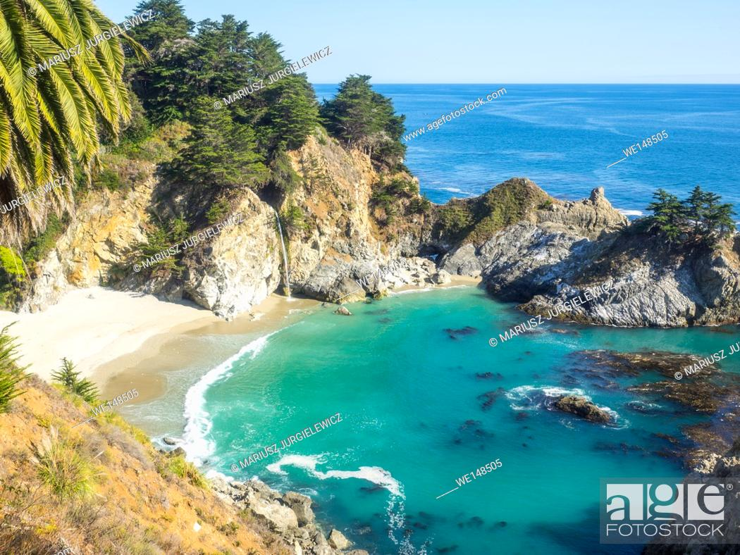 Stock Photo: McWay Falls is an 80-foot waterfall located in Julia Pfeiffer Burns State Park that flows year-round.