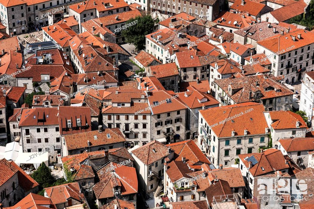Stock Photo: Aerial view of old town Kotor, a world heritage site, Montenegro.
