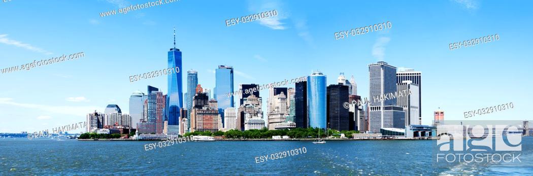 Stock Photo: Panorama of Landmark New York City Manhattan Skyline and World Trade Center Freedom Tower.