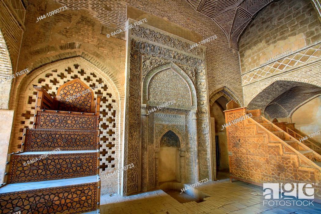 Stock Photo: Iran, Esfahan City, Masjed-e Jame (Friday Mosque) UNESCO, world heritage, West Iwan, Room of Sultan Uljeitu.