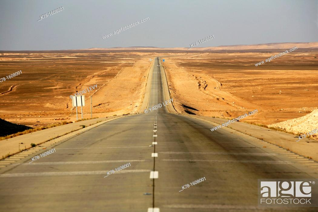 Stock Photo: Typical long empty road in the Badia, Jordan.