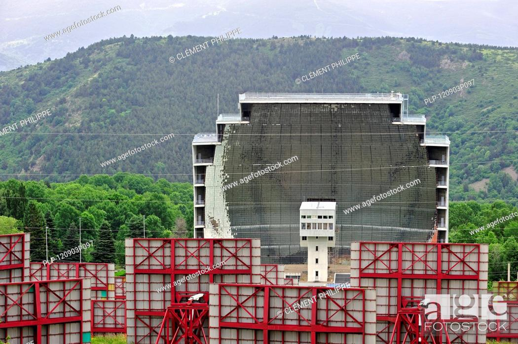 Stock Photo: The solar furnace / Four solaire d'Odeillo at Odeillo in the Pyrénées-Orientales, Pyrenees, France.