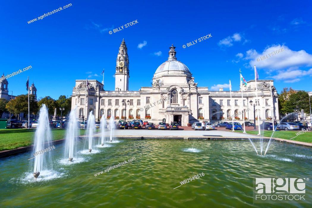Stock Photo: City Hall, Civic Centre, Cardiff, Wales, United Kingdom, Europe.