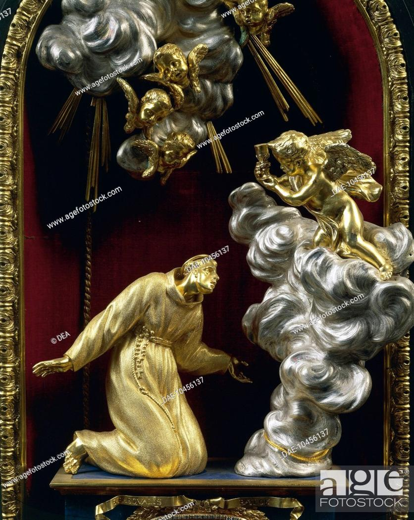 Stock Photo: Silversmith's art, Italy, 17th century. Massimiliano Soldani Benzi (1656-1740), Reliquary of Saint Paschal Baylon in silver, ebony and pietre dure, 1690.