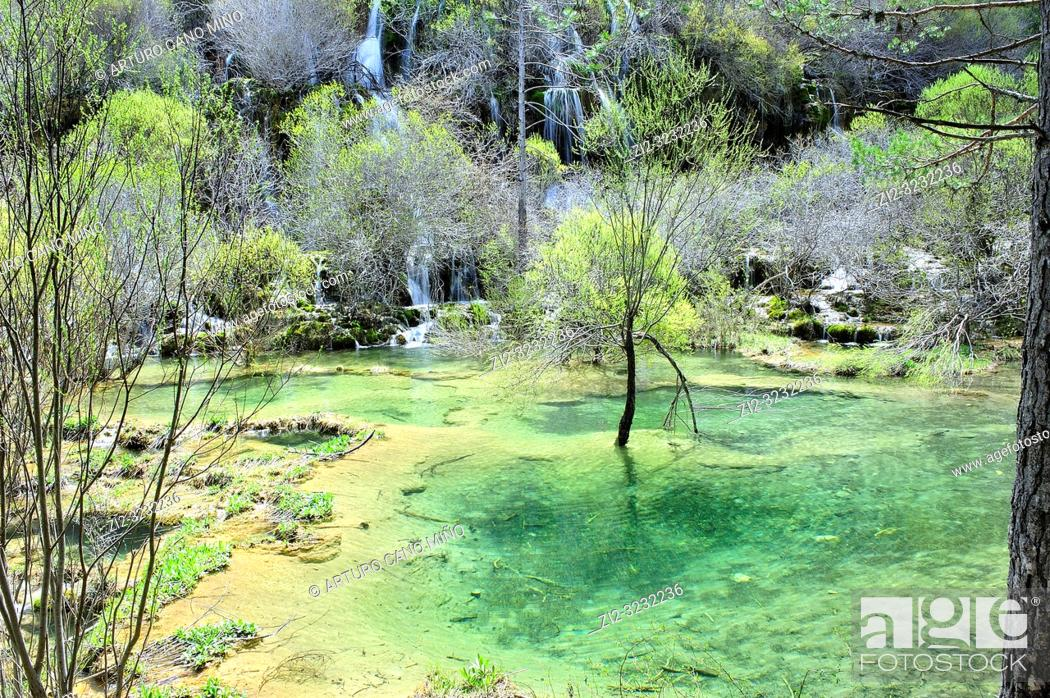 Stock Photo: The River Cuervo Natural Monument. Serrania de Cuenca Natural Park. Cuenca Province, Spain.