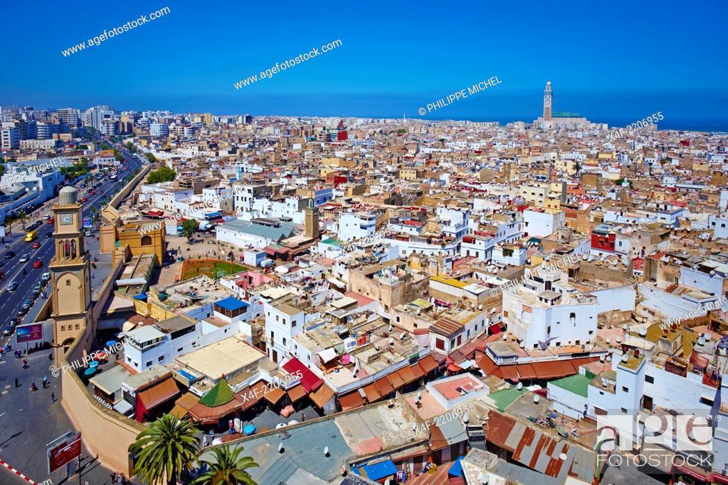 Stock Photo: Morocco, Casablanca, Old Medina and Hassan II mosque.