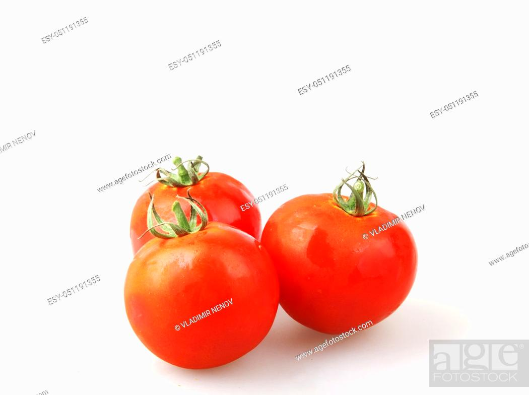 Stock Photo: Close-Up Of Red Tomatoes On White Background.