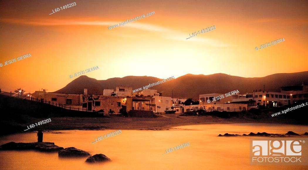 Stock Photo: Evening in Isleta del Moro, Cabo de Gata, Almeria, Spain.