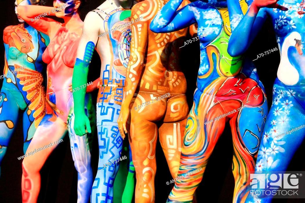 Stock Photo: Bodypainting contest. Möriken, Aargau, Switzerland.