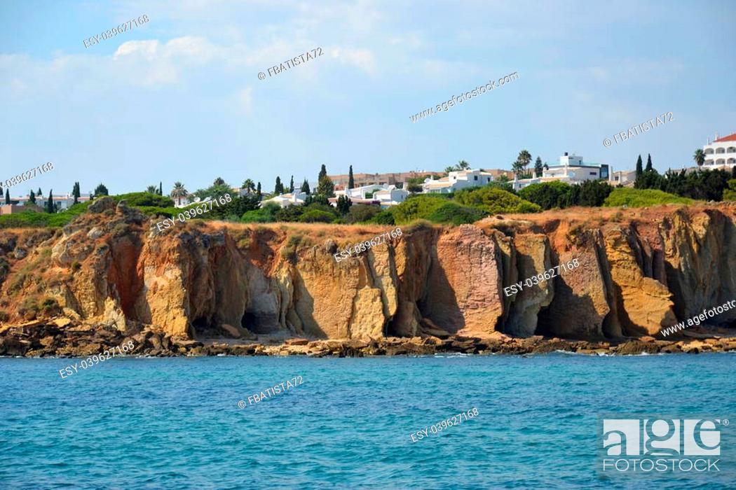 Stock Photo: Cliffs Baleeira, Albufeira in the Algarve Portugal.