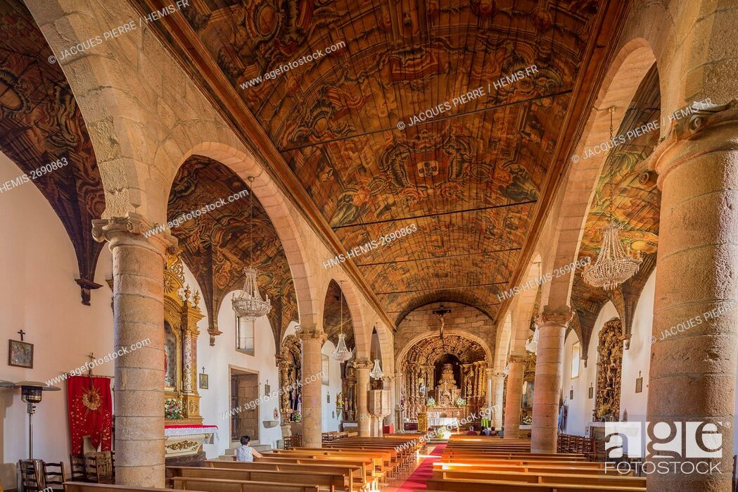Stock Photo: Portugal, northern Region, district of Guarda, Douro, Vila Nova de Foz Coa, Matriz church.