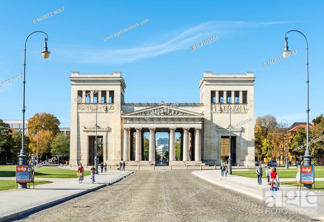 Stock Photo: The Propylaea, classicist gatehouse on Königsplatz square, Munich, Upper Bavaria, Bavaria, Germany.