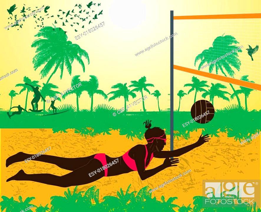 Stock Vector: pacific ocean beach volley vector art.