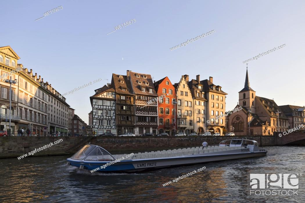 Stock Photo: Strasbourg, Alsace, France. Tourist boat.