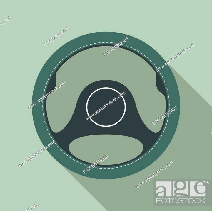 car steering wheel vector icon flat symbol automobile steering wheel icon in flat style with long stock vector vector and low budget royalty free image pic esy 028802405 agefotostock 2