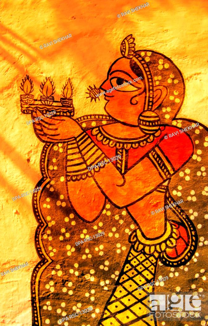 Wall Paintings Jaipur Rajasthan India Stock Photo Picture And
