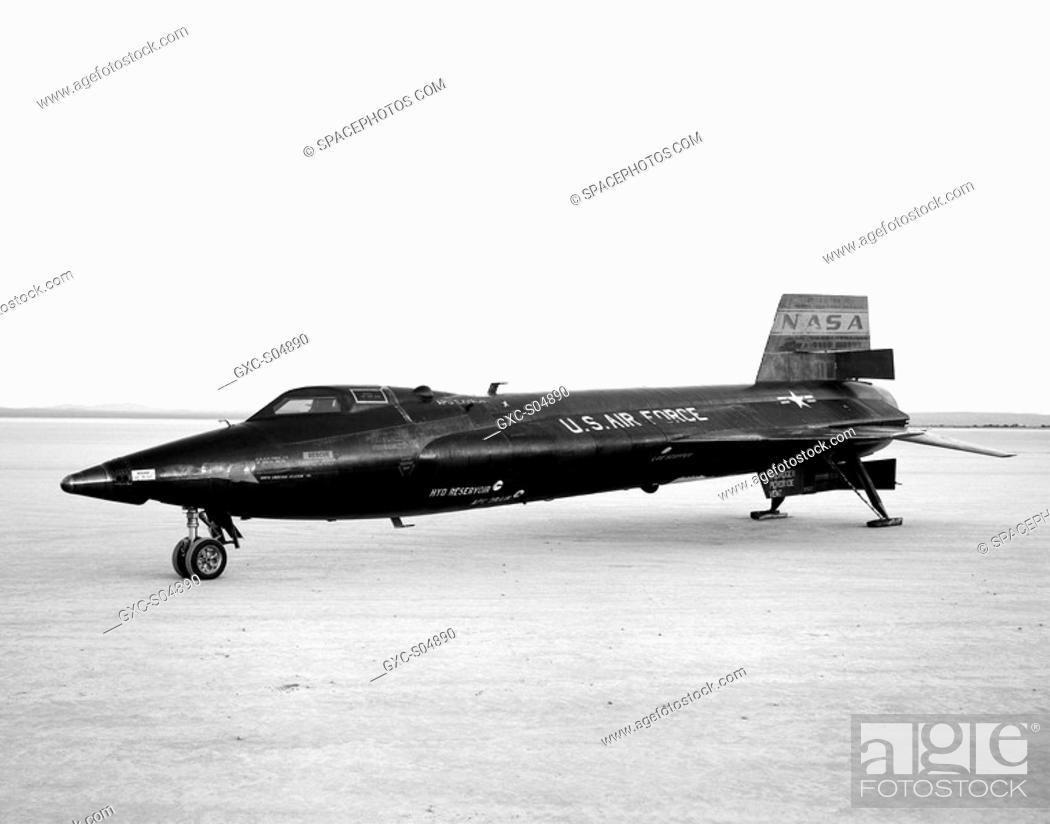 Stock Photo: The X-15-3 56-6672, seen here on the lakebed at Edwards Air Force Base, Edwards, California, was a rocket-powered aircraft 50 ft long with a wingspan of 22 ft.