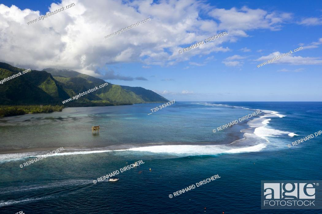 Stock Photo: Aerial View of Teahupoo, Tahiti, French Polynesia.
