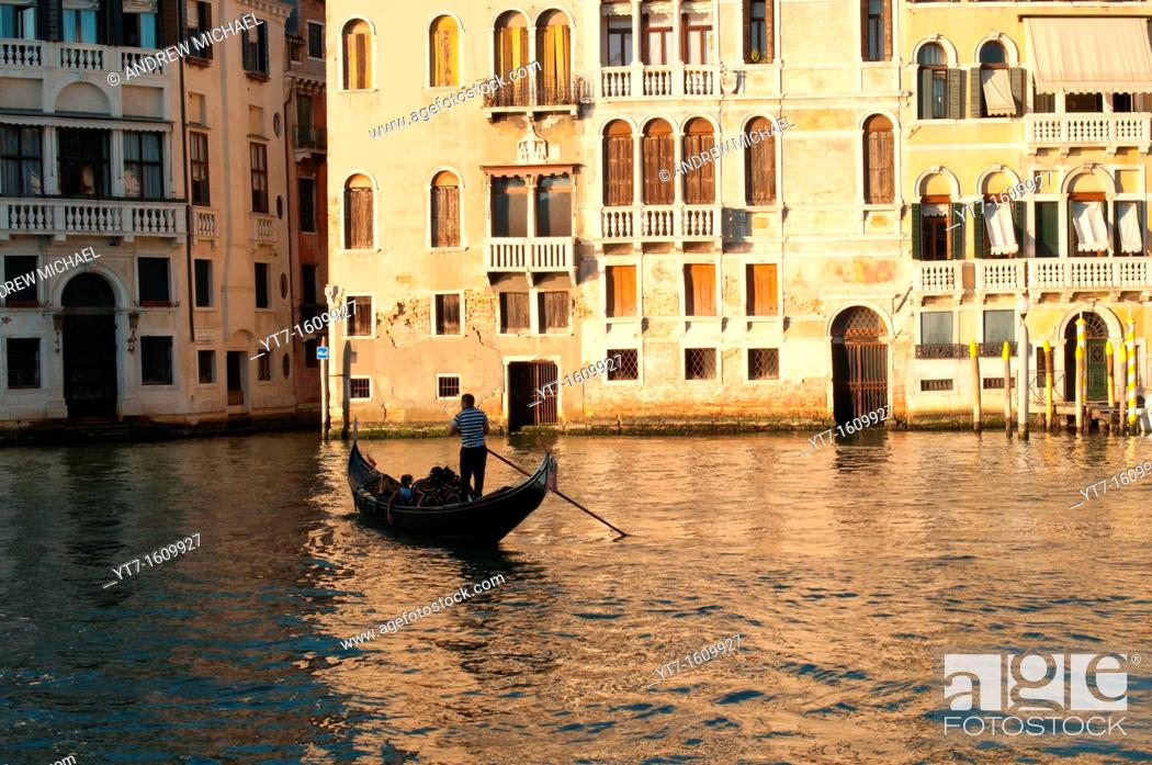 Stock Photo: Silhouette of a gondola in evening sun  Grand Canal, Venice, Italy.
